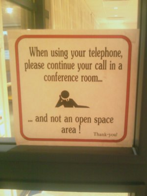 When using your telephone, please continue your call in a conference room
